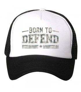 born to defend printed cap